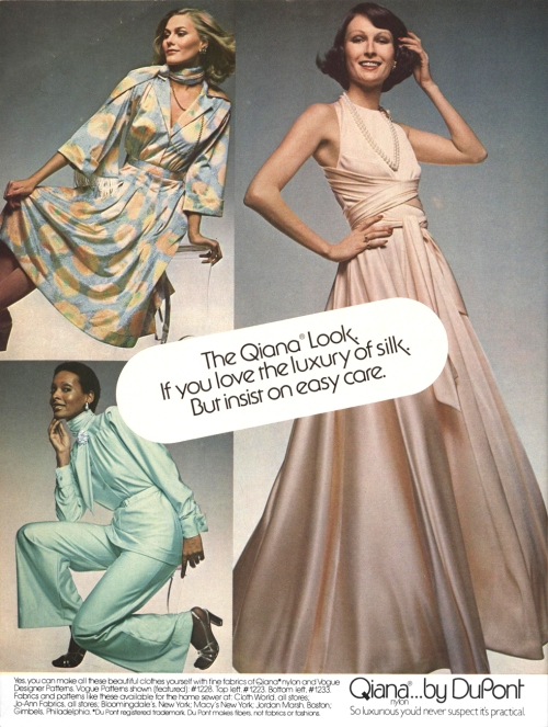Advertisement for Qiana featuring Vogue 1228 by Jerry Silverman.